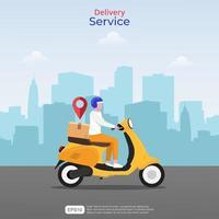 concetto di servizi di consegna veloce online. illustrazione di uomo corriere con scooter giallo e icona di navigazione. skyline della città sullo sfondo. stile vettoriale piatto