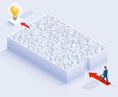 progettazione concettuale della soluzione aziendale. uomo d'affari in piedi al labirinto illustrazione vettoriale. vettore