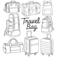 borsa da viaggio zaino stile doodle illustrazione vettoriale. vettore