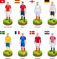 gruppo di calcio giocatore di football jersey nazionale della squadra del mondo. illustrazione vettoriale. vettore