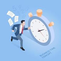 concetto di tempo di affari. uomo d'affari in esecuzione con il cronometro. illustrazione vettoriale isometrica.