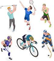 gruppo di sportivi. illustrazioni vettoriali. vettore