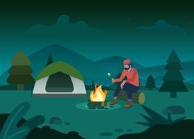Campeggio nell'illustrazione della giungla vettore