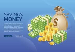 set di banner di icone di denaro. illustrazioni vettoriali. vettore