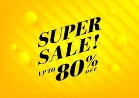 super vendita, banner di saldi estivi. sfondo giallo offerte speciali e design modello di promozione. vettore