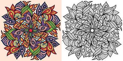 Doodle mandala pagina del libro da colorare per adulti e bambini. vettore