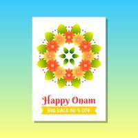 Happy Onam Creative Banner promozionali per South India Harvest Festival