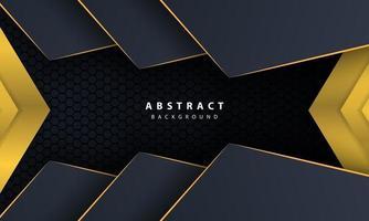 sfondo nero oro moderno con effetto strati sovrapposti 3d. vettore