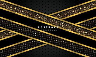 sfondo astratto con strati di sovrapposizione neri. trama con linea oro e decorazione elemento puntini oro luccica. vettore
