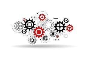 sfondo astratto meccanismo ruota dentata. tecnologia degli ingranaggi delle macchine. concetto di lavoro di squadra. illustrazione vettoriale