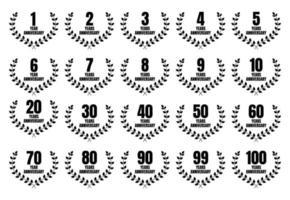 set di design modello anniversario con evento di celebrazione. illustrazione vettoriale
