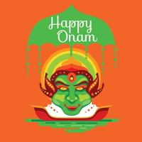 Faccia di Kathakali su sfondo decorativo per il festival indiano del sud Onam vettore