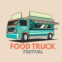 Camion di cibo per il servizio di consegna del ristorante o il Festival del cibo di strada vettore