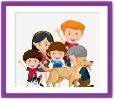 cartone animato foto di famiglia felice in una cornice vettore