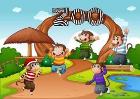 cinque scimmiette che saltano nella scena dello zoo vettore