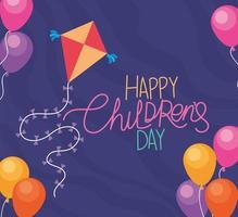 felice giornata dei bambini con aquilone e palloncini disegno vettoriale