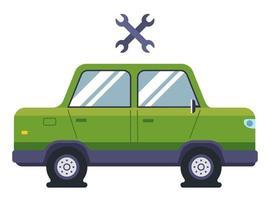 un'autovettura ha pneumatici sgonfiati. bisogno dell'aiuto di un meccanico di auto. illustrazione vettoriale piatta.