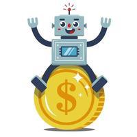 robot si siede su una grande moneta d'oro. reddito passivo. gioioso lavoratore. illustrazione vettoriale piatta