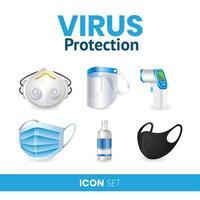 covid 19 protezione antivirus con icone vettore