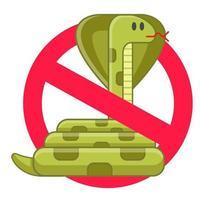 vietare i serpenti. definizione di pericolo tossico. antidoto ai morsi. illustrazione vettoriale isolato piatto.