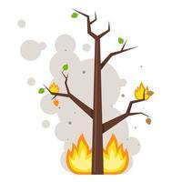 albero bruciato. fiamma sui rami. nuvole di fumo. illustrazione vettoriale piatta