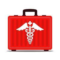 valigia medica rossa con farmaci. simbolo del caduceo. primo soccorso. illustrazione vettoriale piatta.