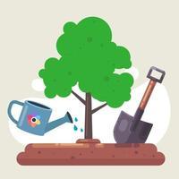 piantare un albero in natura. pala e annaffiatoio per il giardino. piante acquatiche. illustrazione vettoriale piatta
