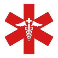 segno rosso della medicina. serpente e scettro. icona di vettore piatto.