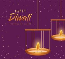 felice diwali candele appese su sfondo viola disegno vettoriale