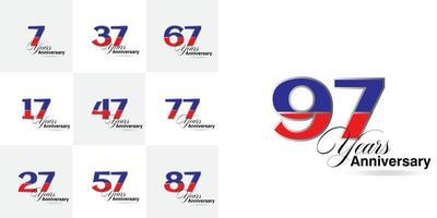 impostare i numeri di celebrazione dell'anniversario di 7, 17, 27, 37, 47, 57, 67, 77, 87, 97 anni vettore