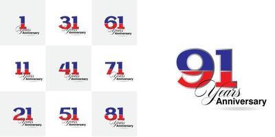 impostare i numeri di celebrazione dell'anniversario di 1, 11, 21, 31, 41, 51, 61, 71, 81, 91 anni vettore
