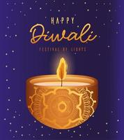 felice diwali candela su sfondo blu disegno vettoriale