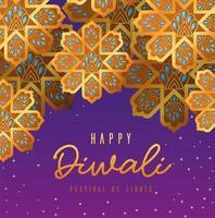 felice diwali fiori d'oro su sfondo viola disegno vettoriale
