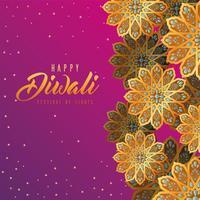 felice diwali fiori d'oro su sfondo rosa disegno vettoriale