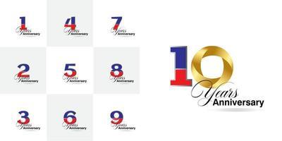 impostare il numero di celebrazione dell'anniversario di 1, 2, 3, 4, 5, 6, 7, 8, 9, 10 anni vettore