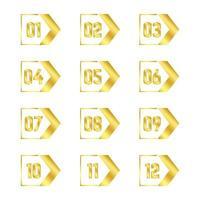 raccolta di punti elenco freccia d'oro vettore