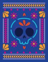 teschio messicano in una cornice colorata vettore