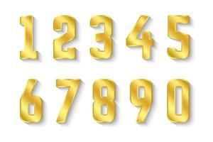 collezione di numeri d'oro da 0 a 9 vettore