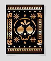 oro messicano e teschio nero nel disegno vettoriale telaio