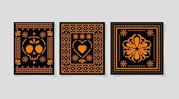 teschio messicano cuore e fiore in frame disegno vettoriale
