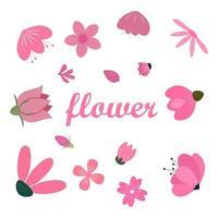 raccolta di elemento decorativo di fiori piatti rosa vettore
