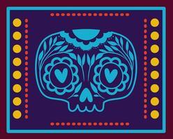 teschio messicano con cornice colorata vettore