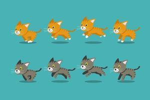 gatti di tabby del fumetto di vettore in esecuzione