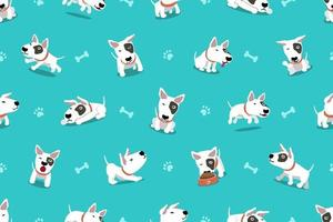 Vector cartoon personaggio bull terrier cane seamless pattern