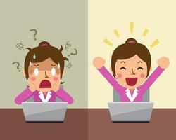 cartone animato imprenditrice esprimendo emozioni diverse vettore