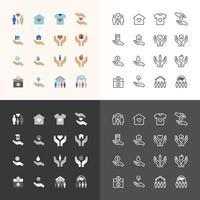 set di icone piane di vettore del concetto di struttura di tecnologia di finanza aziendale.