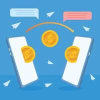 invio di denaro dal portafoglio elettronico, pagamenti mobili online tramite telefono. transazione bancaria e tecnologia digitale. vettore