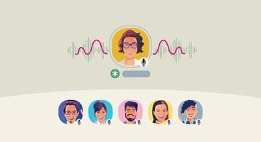 le persone che utilizzano le cuffie ascoltano uno smartphone, lo schermo mostra lo stato delle persone che utilizzano applicazioni di social network, che apprendono o si incontrano online vettore