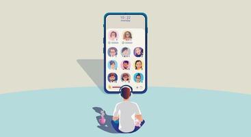 un uomo usa le cuffie e ascolta uno smartphone, lo schermo mostra lo stato delle persone che utilizzano applicazioni di social network, che apprendono o si incontrano online vettore