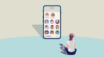 una donna usa le cuffie e ascolta uno smartphone, lo schermo mostra lo stato delle persone che utilizzano applicazioni di social network, che apprendono o si incontrano online vettore